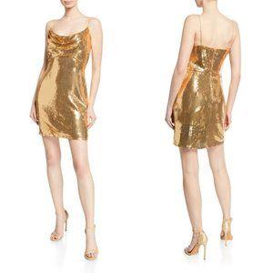 Tadashi Shoji Sho Gold Sequin Cowl Neck Mini Dress